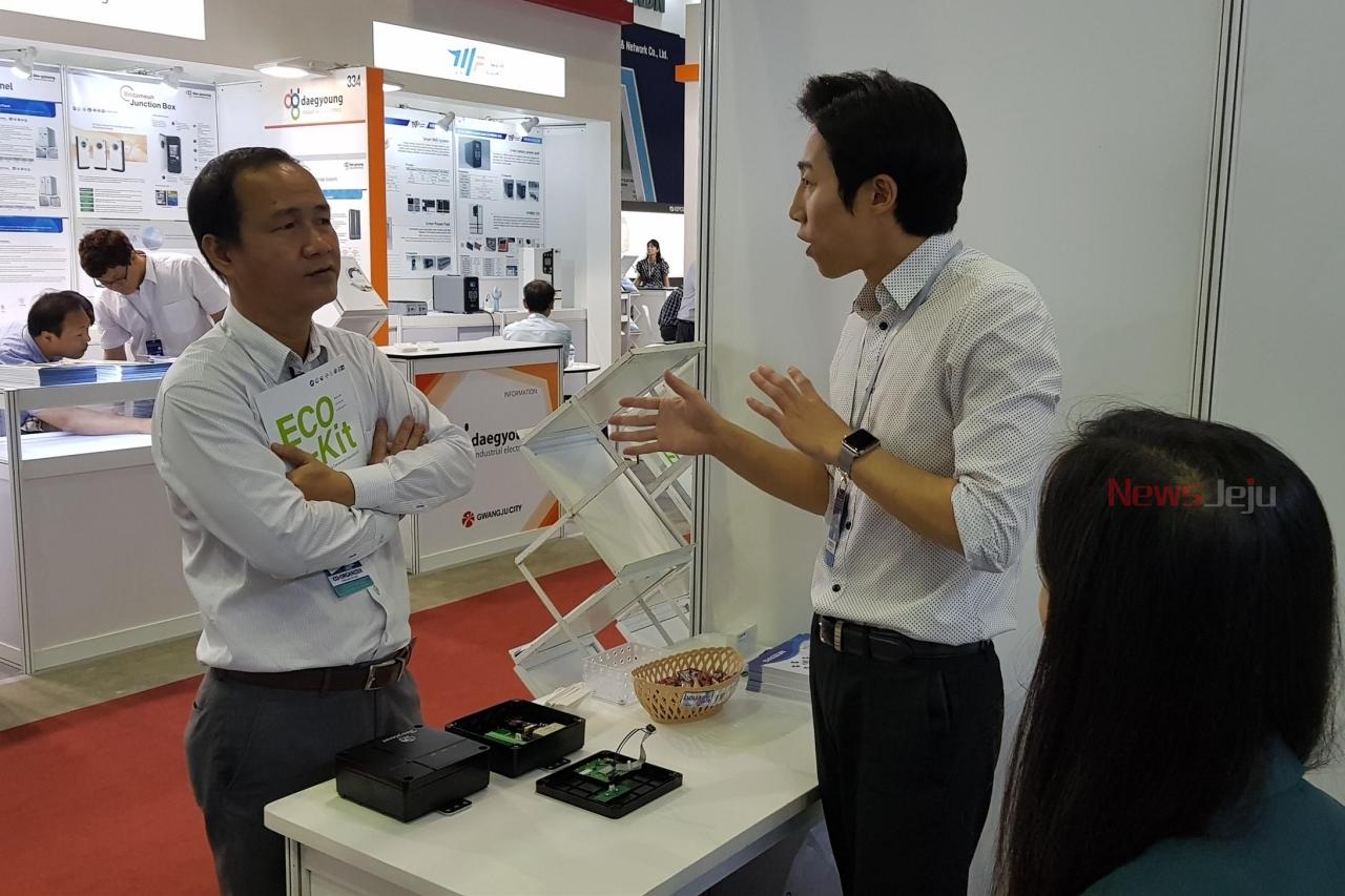 ▲ (주)대은의 기술개발 제품인 'IoT를 활용한 중앙관제 시스템'이 베트남 현지 기업으로부터 많은 관심을 받았다. ©Newsjeju
